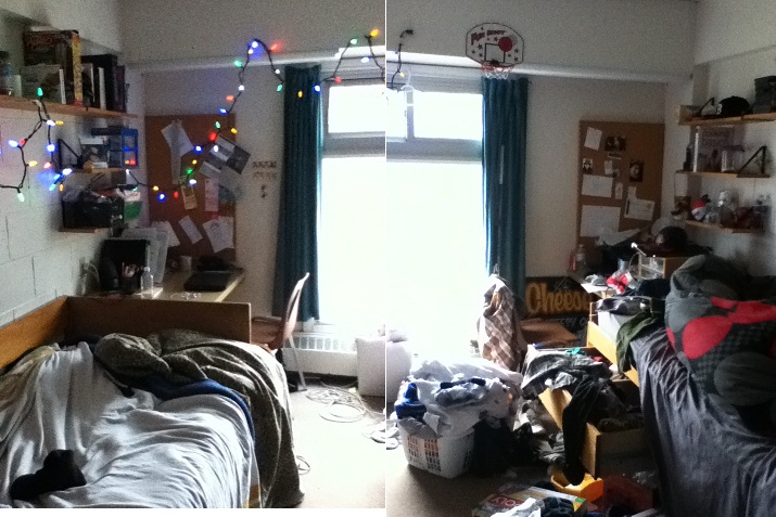 In my defence his side is the messier one, the right side. And my side has Christmas lights, no big deal.