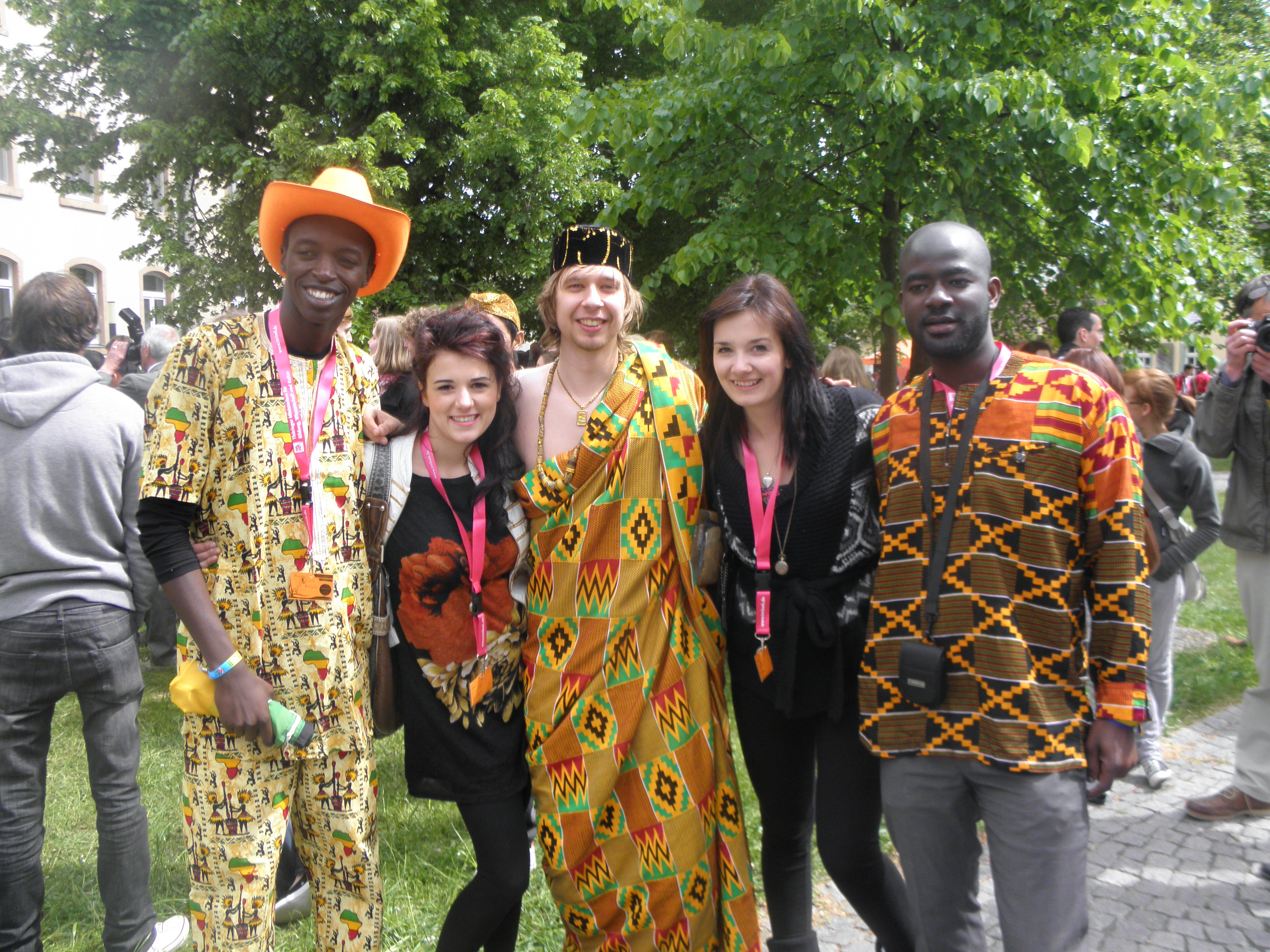 Hanging out with some of the Zimbabwe delegates and a German student dressed in African gear lol