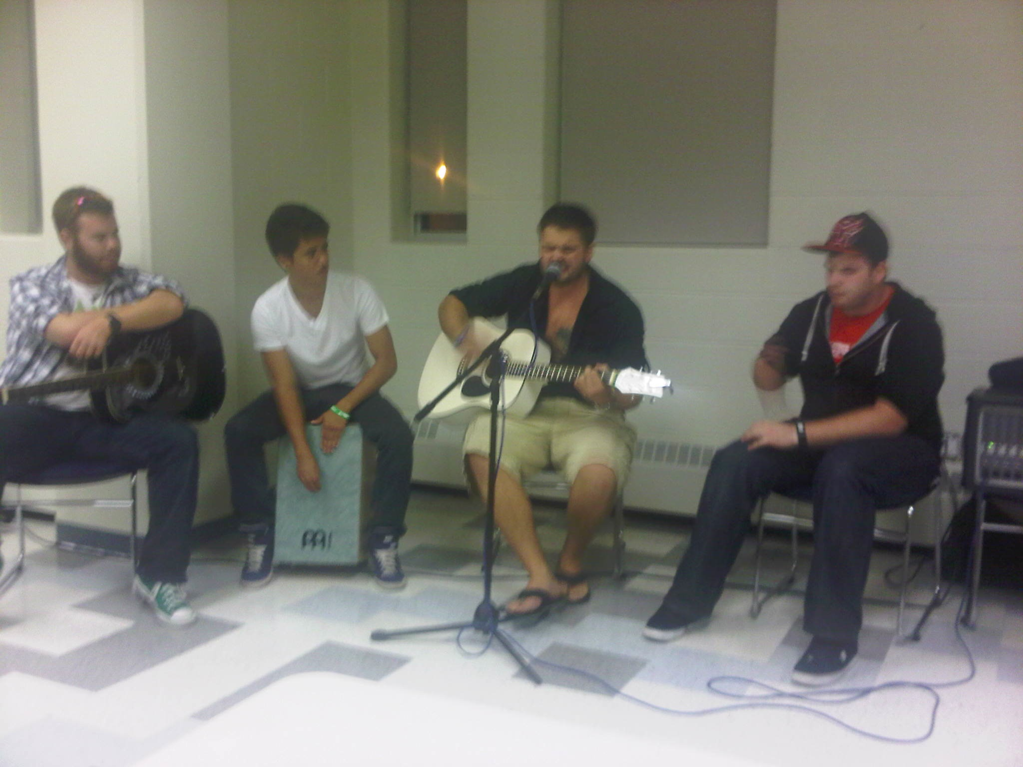 Some students performing at the Open Mic Night