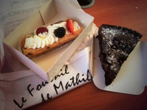 Two of the many delicious pastries that I have enjoyed! A beignet and chocolate raspberry cake