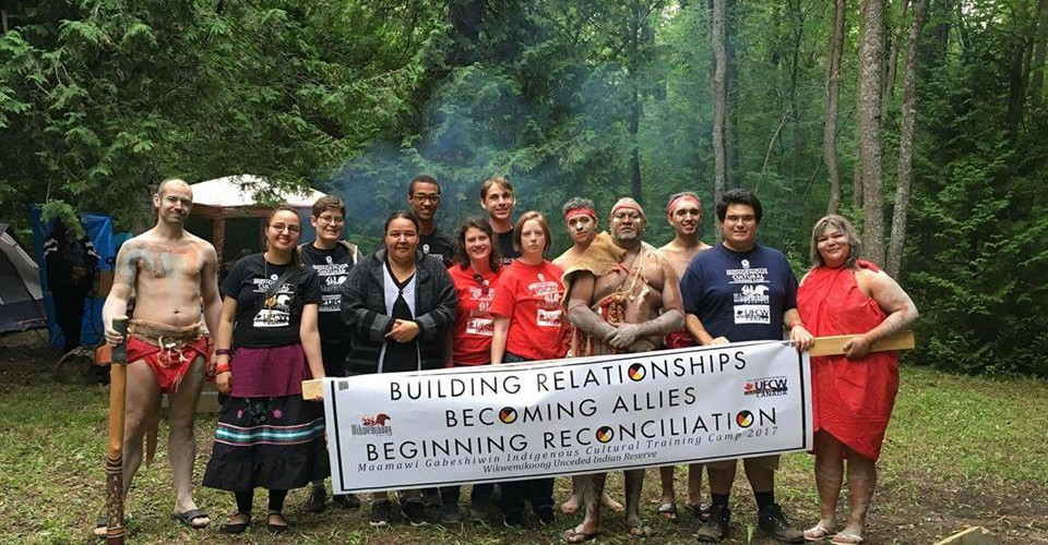 Kaella-Marie Earle has organized camps for Indigenous people, and allies, to learn about their culture. Here she is pictured with Aborigine dancers from Australia, who participated in the Maamiwi Gibeshiwin Cultural Training Camp. Supplied photo